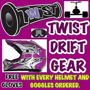 Drift-Slider-Trike-Helmet-Goggles-Free-Gloves-Purple-Kids-Medium