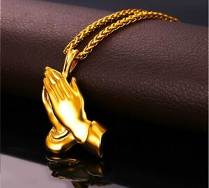 8b213cccdcb09 Details about Praying Hands Pendant Iced Chain Out Gold Necklace Cuban  Jesus Hand Link Silver