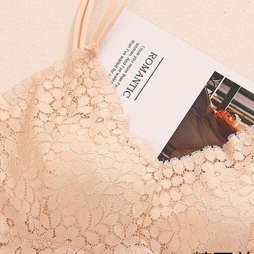 Women Lace Floral Padded Bralette Bralet Bra Bustier Long Crop Top Cami TankPVK