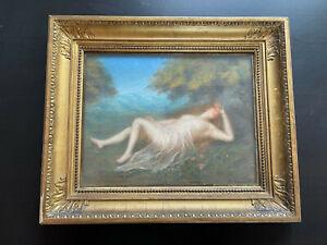 Rare grand pastel nymphe nue curiosa femme signé Camille Henriot tableau XIXème