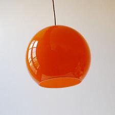 Vintage Suspension Globe boule verre orange lustre années 70 design 1970
