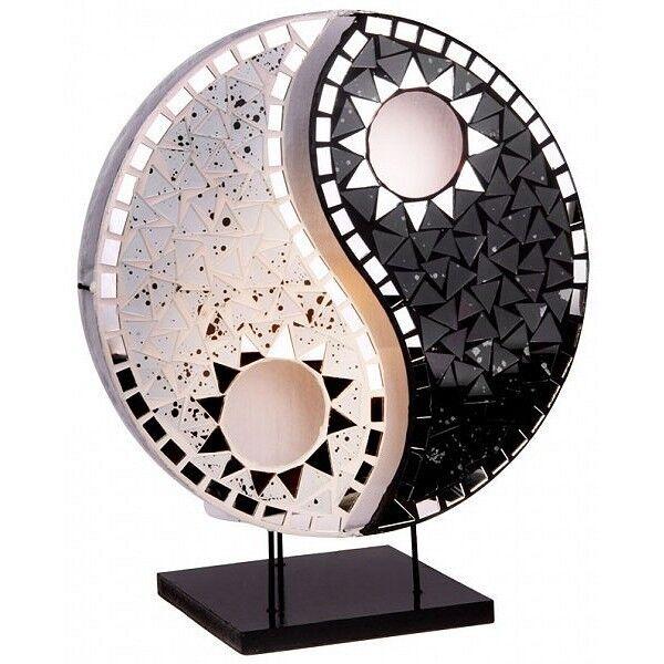 YING YANG Glas Spiegel Tischlampe schwarz weiß BALI LAMPE H= 36 cm handgefertigt
