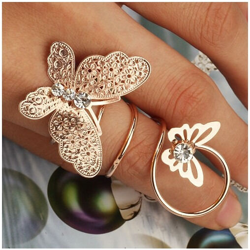 New Fashion Punk Charm Golden Metal Crystal Double Butterfly Spiral Finger Ring