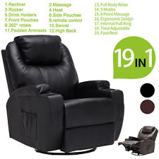 Electric Body Massage Chair Recliner Sofa Ergonomic Lounge Swivel Heated Control