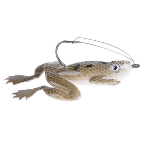 Lot 1Pcs Plastic Frog Fishing Lures ass Spinner Bait Weedless Hook Tackle 6L  sg