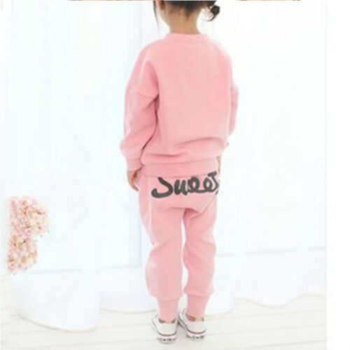 Kids Girls Casual Heart Pullover Jumper Hoodies Top Pants Outfits Set Tracksuit