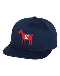 7c050fc000c Details about Goat Snapback Hat Tom Brady 12 New England Patriots Greatest  Of all Time-Navy