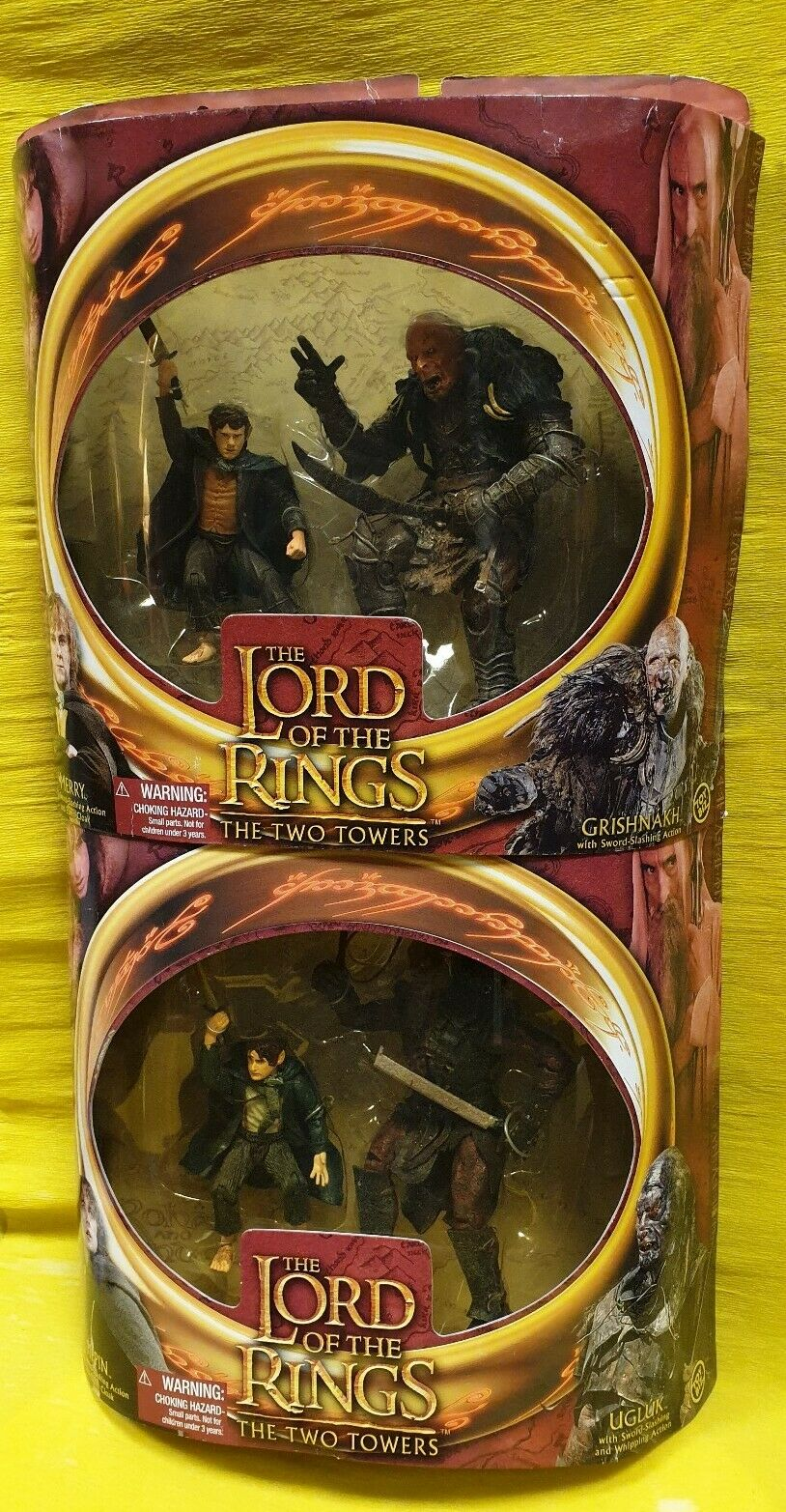 MERRY PIPPIN UGLUK grauHNAKH TOWERS SIGNORE ANELLI LotR LORD RINGS figure TOYBIZ