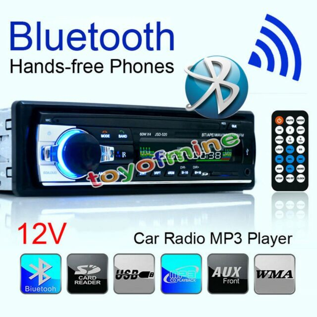 In-Dash Bluetooth Car Stereo Audio FM Aux Input Receiver SD USB MP3 Radio Player