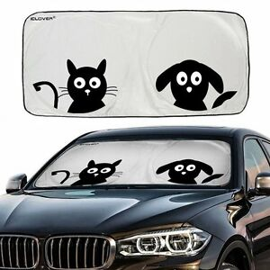 0e0ae78b Jumbo Cartoon Dog Cat Car Sunshade Visor Folding Auto SUV Windshield ...