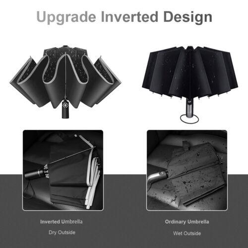 Automatic Folding Inverted Umbrella 10 Ribs Portable Umbrella Reflective Stripe