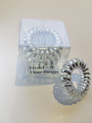 Hold It Metallic Colour Spiral Stretchy Bobbles Hair Bands Hair Rings 3 x 3.5cm