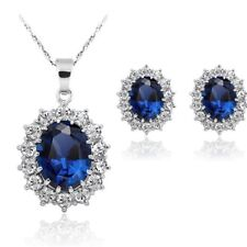 Sterling Silver Blue Sapphire Pendant Necklace Earring Jewelry Set Boxed Gift