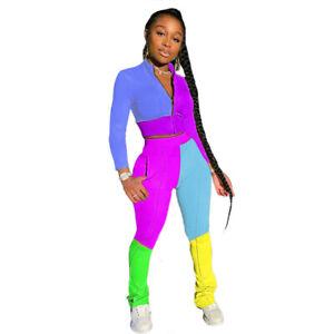 NEW Women Stylish Long Sleeves Zipper Color Patchwork Bodycon Sport Jumpsuit2pcs