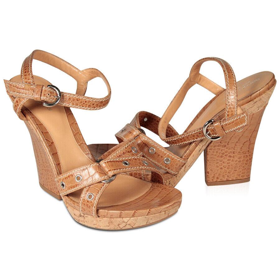 550  Sergio Rossi Designer donne scarpe sandali Marroneei w   sughero tallone 100% Autentico  risparmia fino al 70%