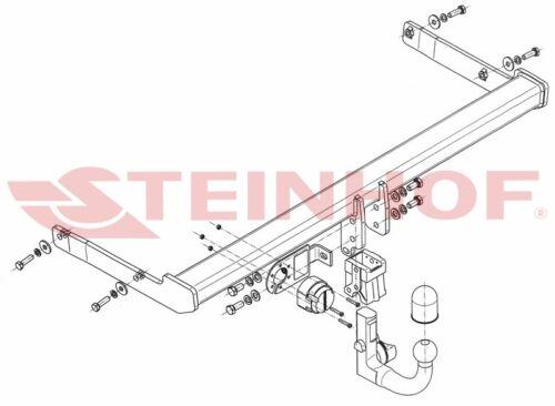 kit VW Passat Saloon B8 2014 detachable vertical towbar 7-pin universal el