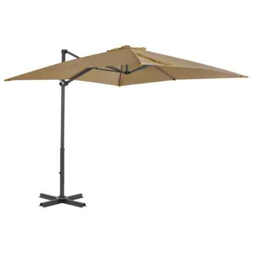 vidaXL Cantilever Umbrella with Aluminium Pole Taupe 250x250 cm