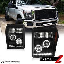 2011-2016 Ford F250 F350 F450 SuperDuty SD Black Halo LED Headlights Headlamps