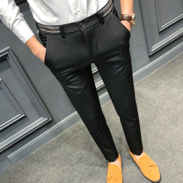 Mens Boys Fomal Suit Pants Lerisure Skinny Slim Trousers Cotton All Season size