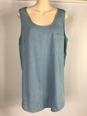 NEW LADIES EX SIMPLY BE LINEN BLEND CHAMBRAY ELASTICATED FULL SKIRT SZ 12