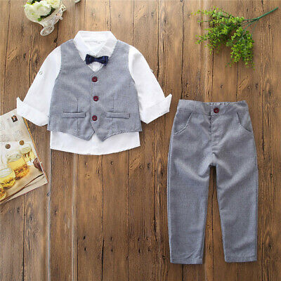3PCS Toddler Kid Baby Boy Gentleman Suit Tie Long Sleeve Shirt Top Pants Outfit