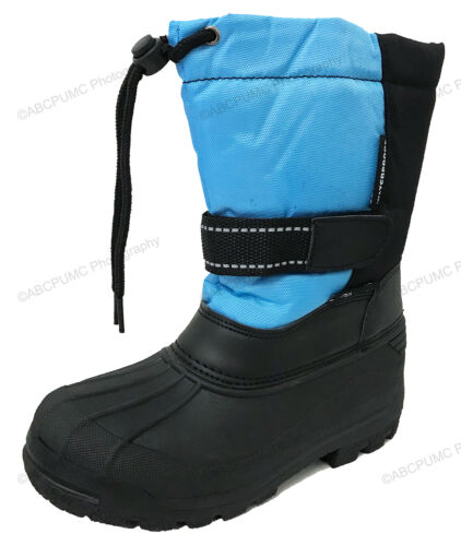 Boys Girls Snow Boots Winter Waterproof Fur Lined Ski Childrens Youth Size:4.5-7