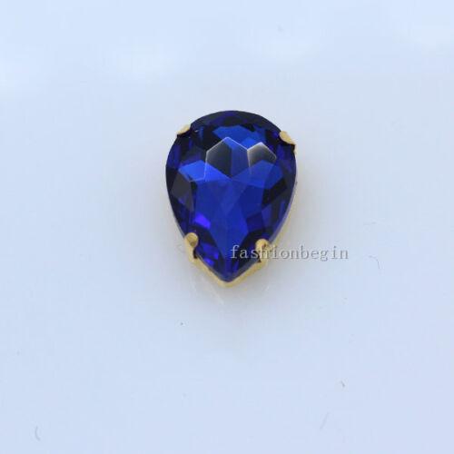 9p 18x25mm cristal en forma de Lágrima Cristal Coser Pedrería Oro Garra Headwear encontrar
