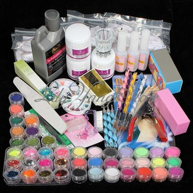 Acrylic Powder Liquid Brush Glitter Clipper Primer File Nail Art Tips Set Kit