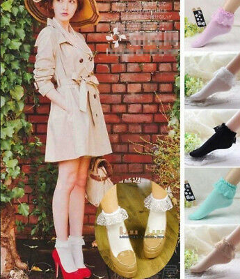 Women Girl Ankle Fancy Fairy Retro Lace Ruffle frilly princess Short dress Socks