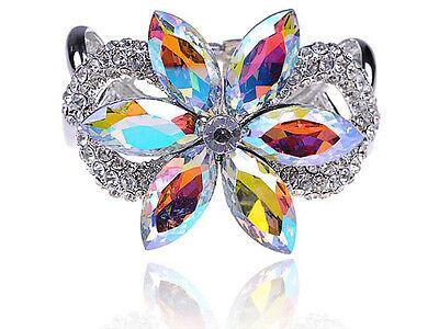 Aurora BorealeCrystal Rhinestone Gem Big Petal Lilac Flower Bracelet Bangle Cuff