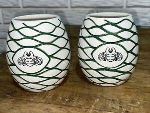 2 BEEHIVE PATRON Tequila Liquor Agave Ceramic Tiki mugs cups set!