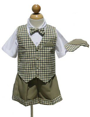 Size  Small to 4T Green//White Toddler Summer Vacation Boys Short outfit Set