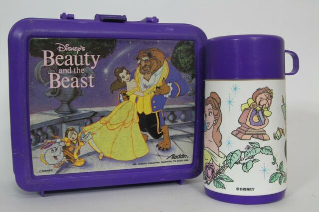 Vintage 1990s Purple Beauty and the Beast Plastic Disney Lunch Box Complete with