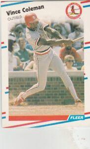 FREE-SHIPPING-MINT-1988-Fleer-St-Louis-Cardinals-Baseball-Crd-27-Vince-Coleman