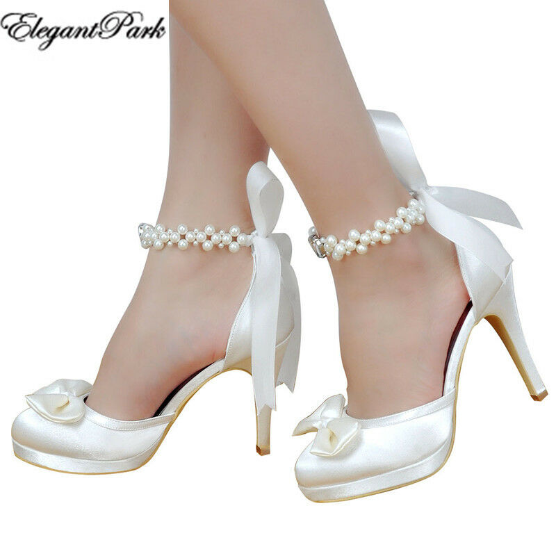 Wedding Bride Shoes White Ivory High Heels Round Toe Platform Ankle Strap Satin