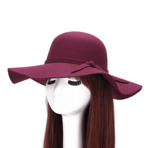 LC/_ vintage femme large bord chapeau printemps automne feutre Casquette église