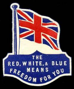 """Canada - Patriotic Poster Stamp """"The Red, White & Blue Means Freedom For You"""""""