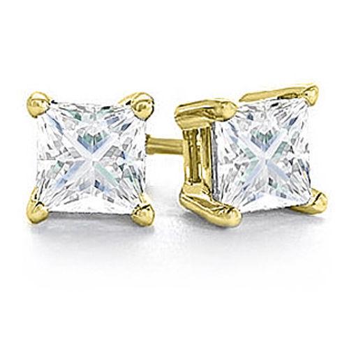 0.50ct Princess Square Cut Diamond Stud Earrings Yellow gold I1-2 J-K