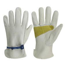 G Tuf Heavy Duty Full Grain Premium Cow Leather Work Gloves Creamy Grey