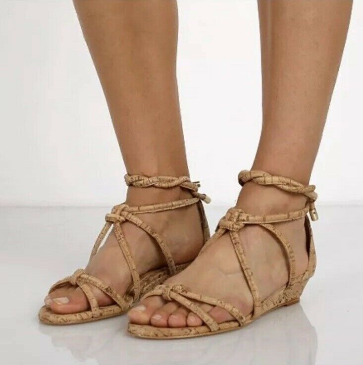 Schutz Knotted Nubuck Cork Wedge Sandal