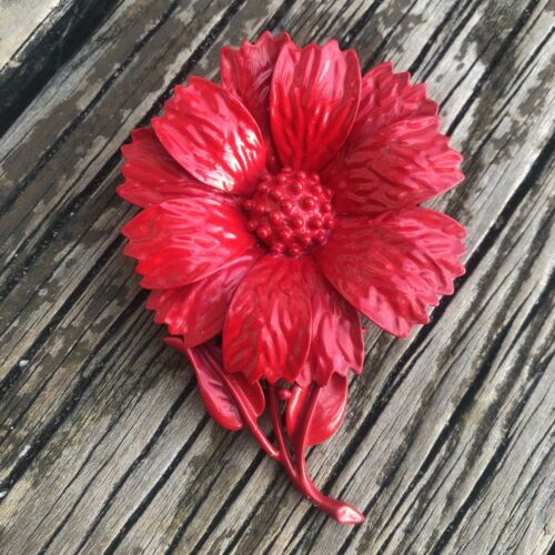 Vintage Red Enamel Flower Brooch Metal Mod Floral