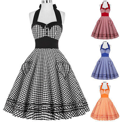 Vintage Retro Classy Polka Dots Grids 40s 50's Swing Full Circle Pinup TEA Dress