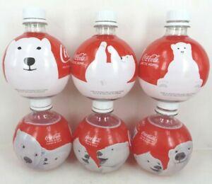 6 Diff Coca Cola round Artic Home POLAR BEAR bottles w caps can 13.5oz 2011-2013