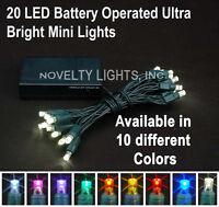 Novelty Lights 20 Battery Powered Christmas Led Mini Light Set -green Wire- 8'