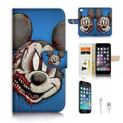 quality design e97a4 fa3fb For iPhone 7 Plus ) Wallet Case Cover P6785 Zombie Mickey Mouse   eBay