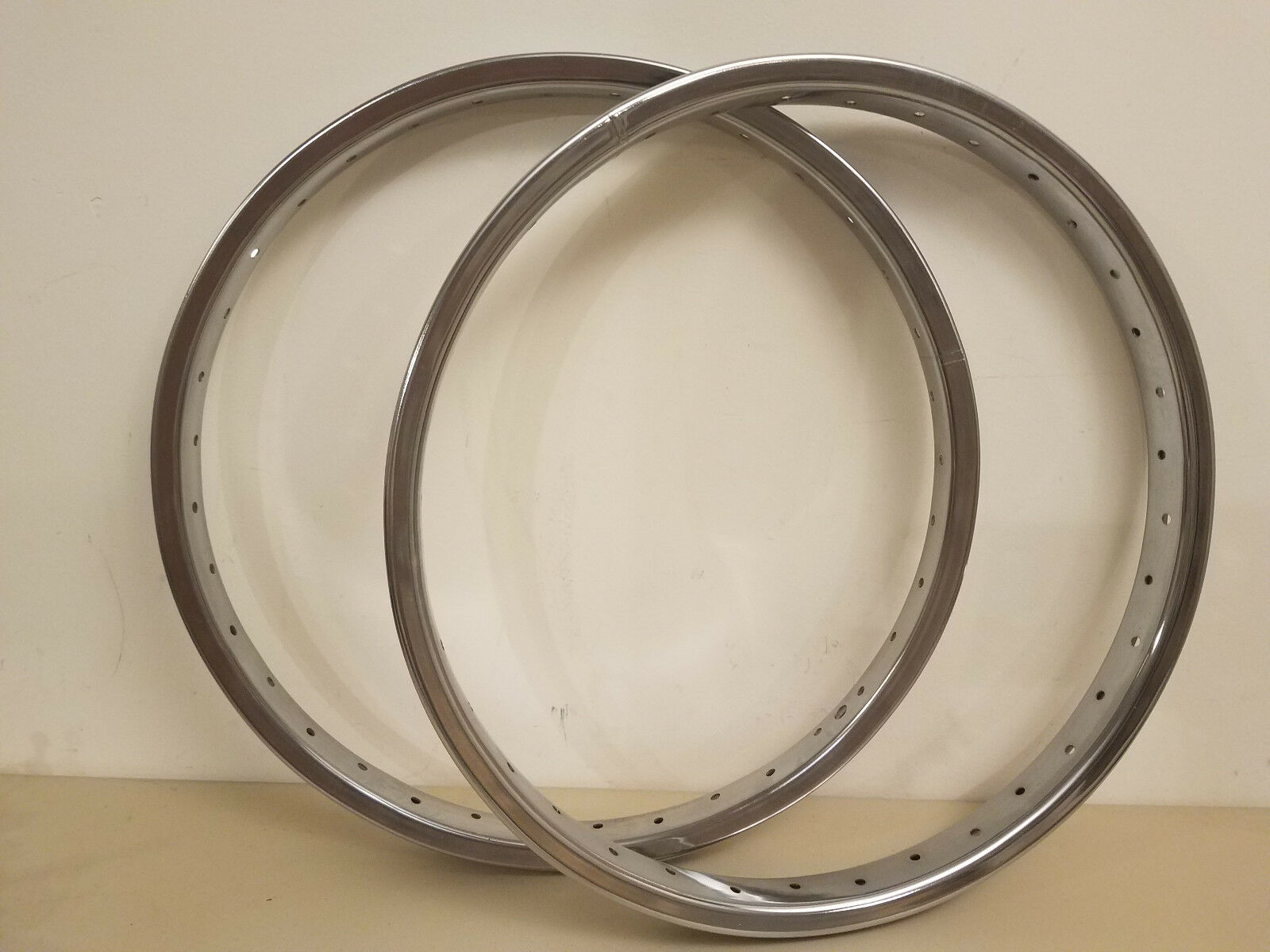 2 NOS Old School BMX Sun Metal Products 20  Chrome Bike Rims Heavy Guage Spokes
