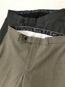 LOT-OF-2-Lauren-Ralph-Lauren-30-x-30-Gray-Beige-Flat-Front-Dress-Pants