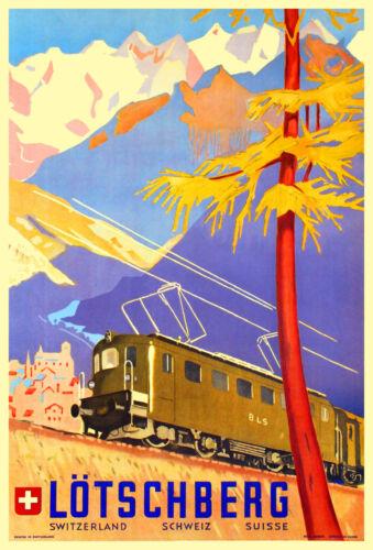 Art Déco Swiss Railway Reise Poster 1940s Lötschberg Schweiz Aufdruck Retro