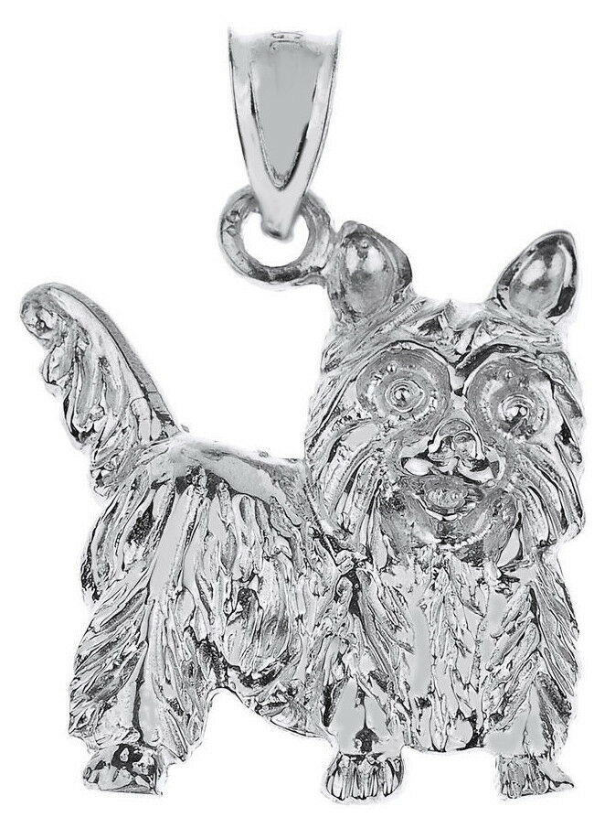 White gold Yorkie Dog Charm Pendant