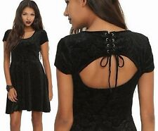 New Womens Hot Topic 3X Plus Size 20/22 Black Skull Dress Key Hole Lace Up Back